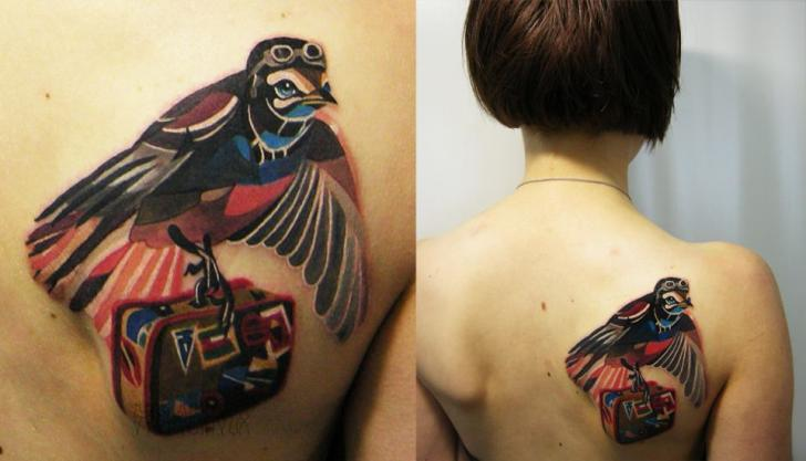 tattoo-back-bird-suitcase-abstract